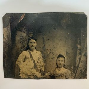 Other - Antique Tintype Two Teenage Sisters Photograph